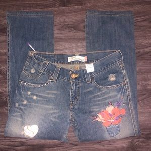 Levi's Slouch 504 Straight Jeans 11 M w/ flowers